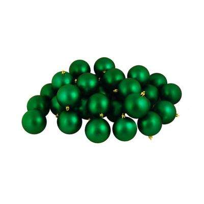 Matte Xmas Green Shatterproof Christmas Ball Ornaments (12-Count)
