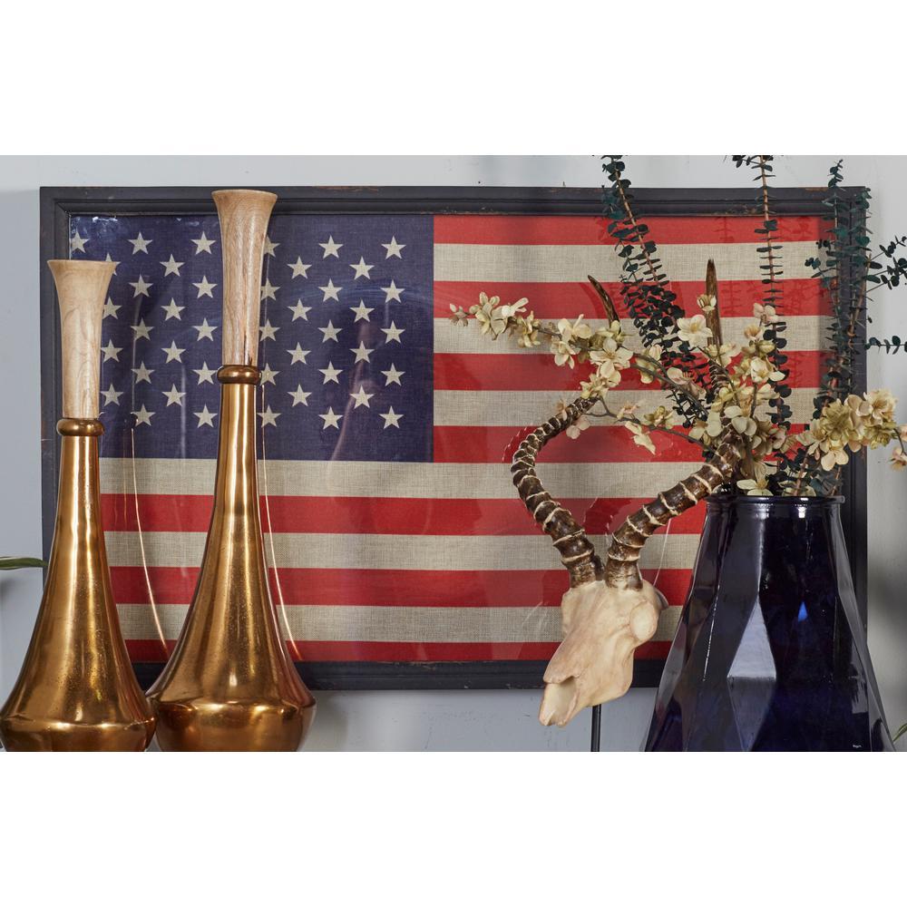 22 In X 36 In American Flag Framed Wooden Wall Art
