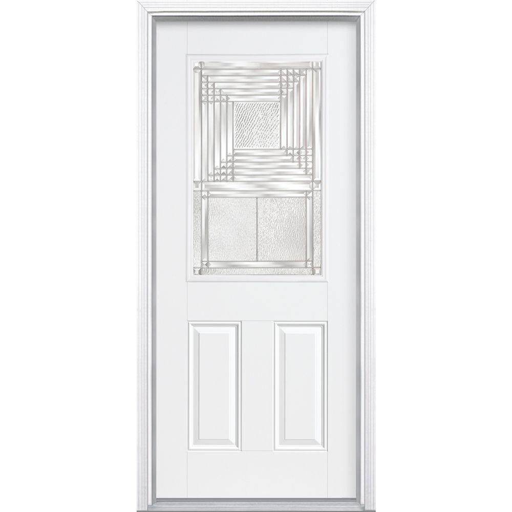 Masonite Rochelle Half Lite Primed Steel Prehung Front Door with Brickmold-DISCONTINUED