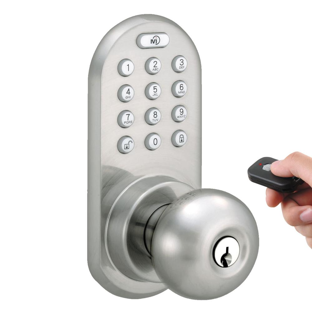 Morning Industry Satin Nickel Touch Pad and Remote Electronic Entry Door Knob