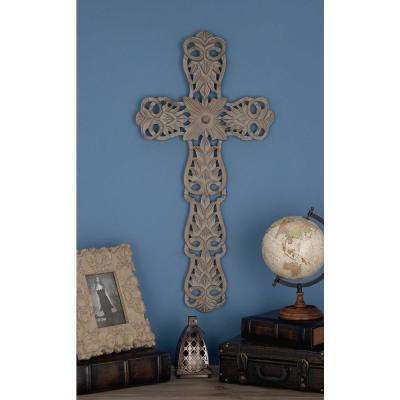17 in. x 35 in. Rustic Gray Wooden Lattice-Carved Wall Cross