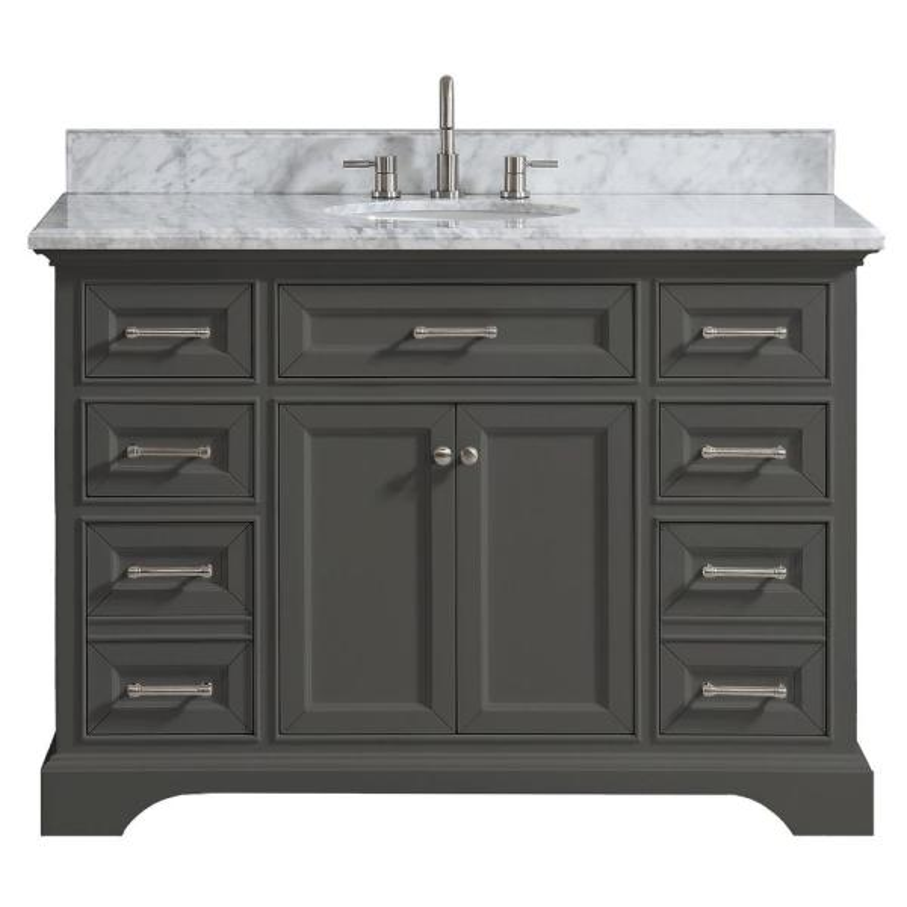 Windlowe 49 in. W x 22 in. D x 35 in. H Bath Vanity in Gray with Carrara Marble Vanity Top in White with White Sink