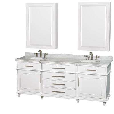 Berkeley 80 in. Double Vanity in White with Marble Vanity Top in White Carrara and Undermount Round Sinks