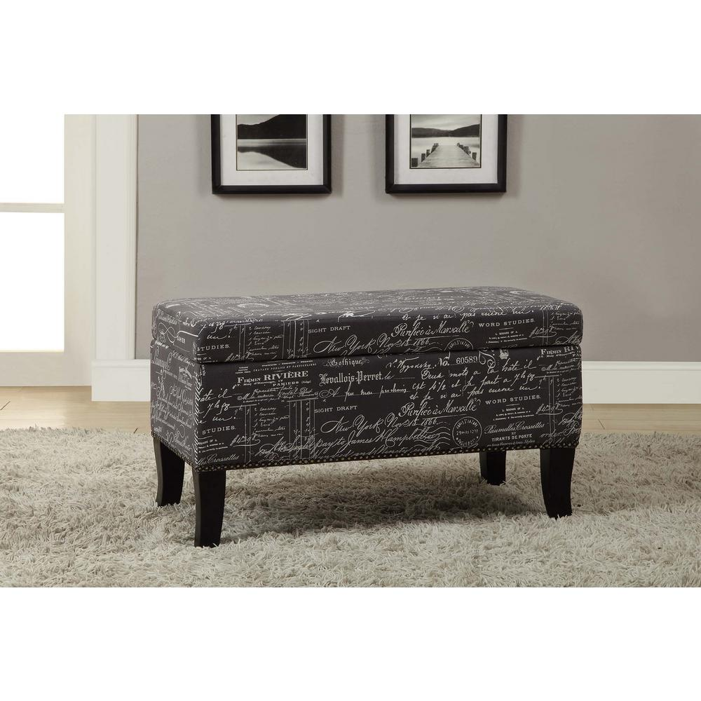 Linon Home Decor Stephanie Black Storage Ottoman-40454BOT01U - The ...