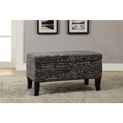 Stephanie Grey and Black Storage Ottoman