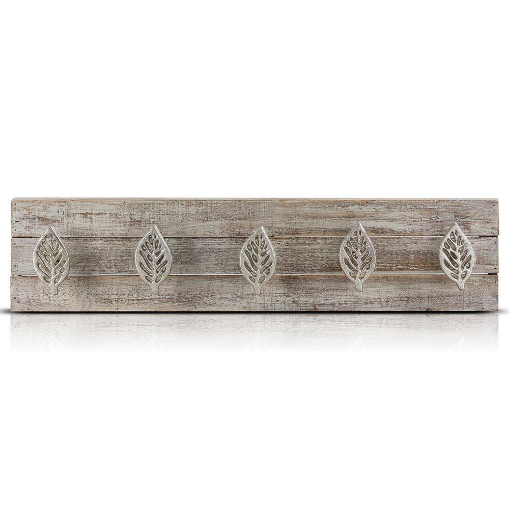 +3. Crystal Art Gallery Leaves Wood/Metal Coat Rack Wall Hooks
