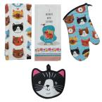 Crazy Cat Cotton Multi Kitchen Textiles (Set of 4)