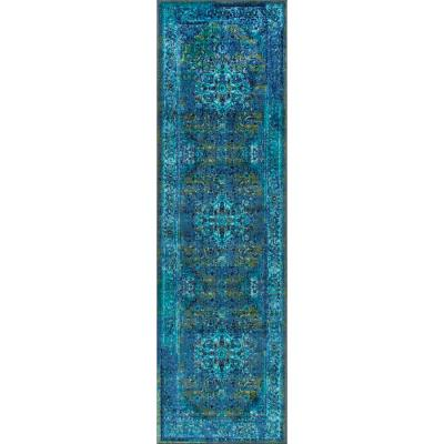 Reiko Vintage Persian Blue 3 ft. x 12 ft. Runner