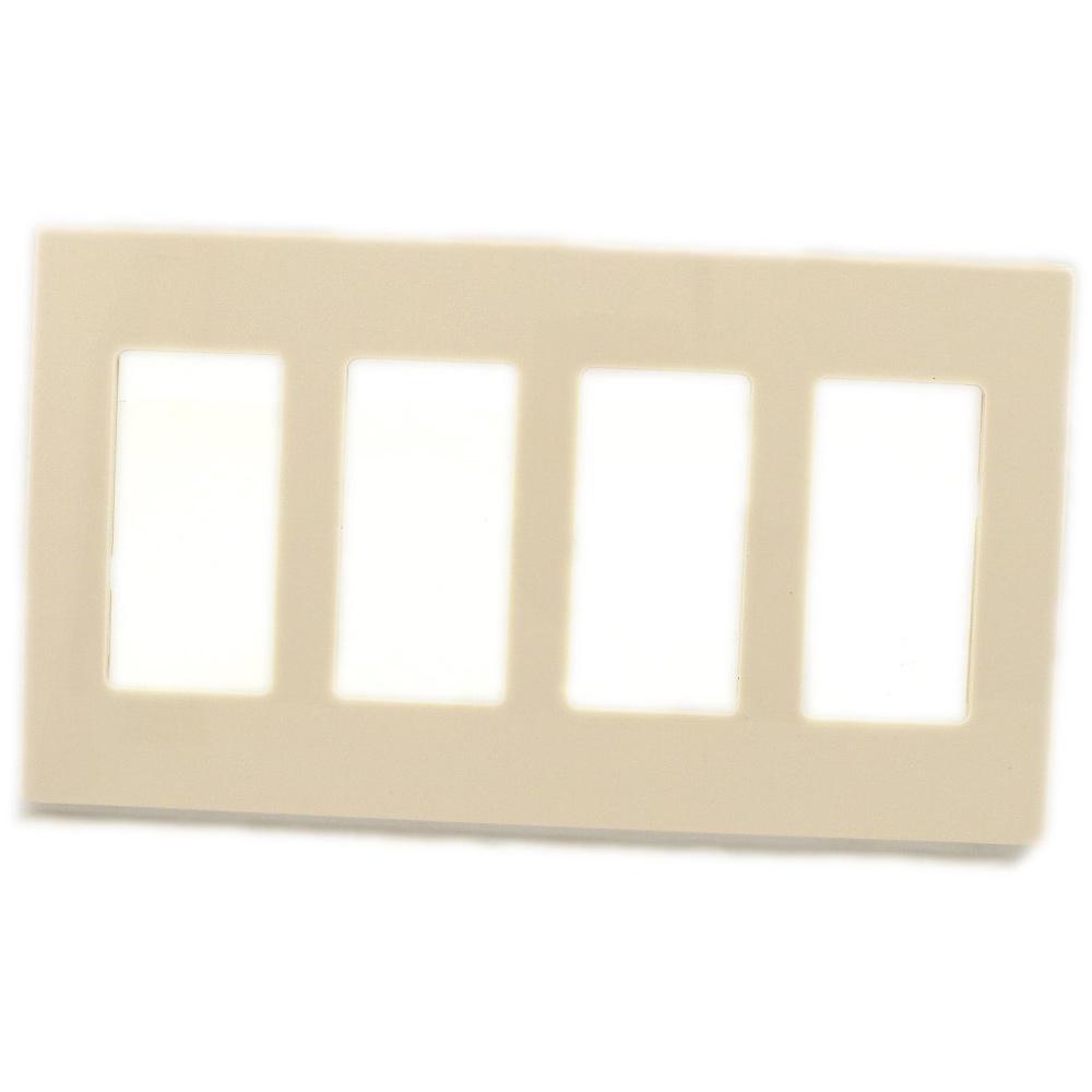 Leviton 4 Gang Decora Screwless Wall Plate Light Almond