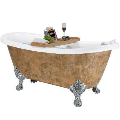 59 in. Acrylic Double Slipper Clawfoot Non-Whirlpool Bathtub in Glossy Copper Foil