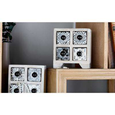 White Square 4-Drawer Jewelry Chest with Black Lattice Design