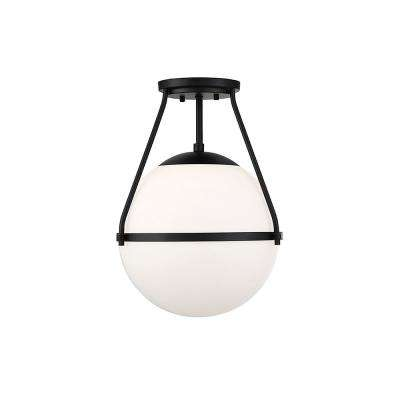 1-Light Matte Black Semi-Flush Mount with White Opal Glass