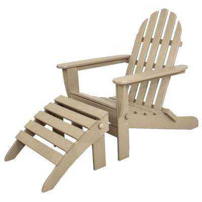 Classics Sand 2 Piece Folding Plastic Adirondack Chair