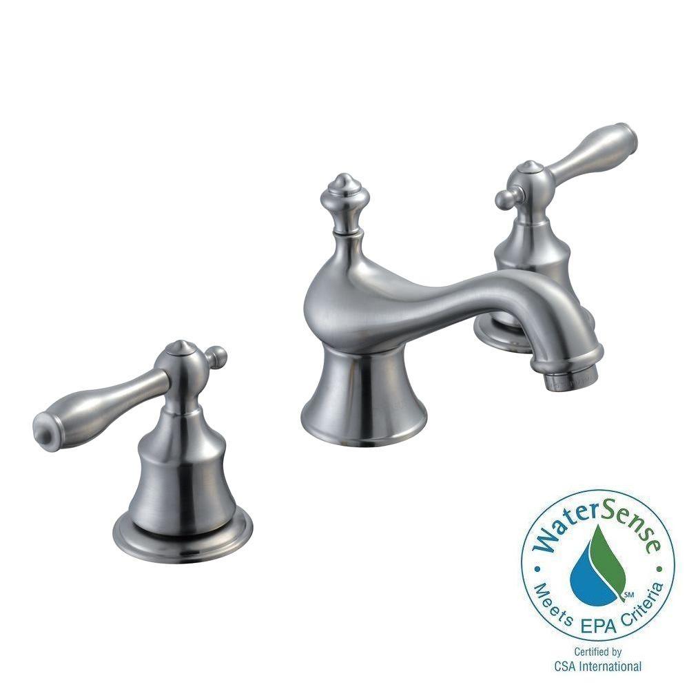 Estates 8 in. Widespread 2-Handle Low-Arc Bathroom Faucet in Brushed Nickel