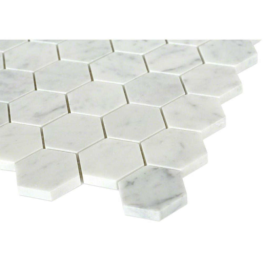 Hexagon White Carrera Mesh-Mounted Mosaic Floor and Wall Tile Sample
