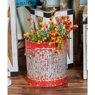 Distressed Red Iron Planters (Set of 2)
