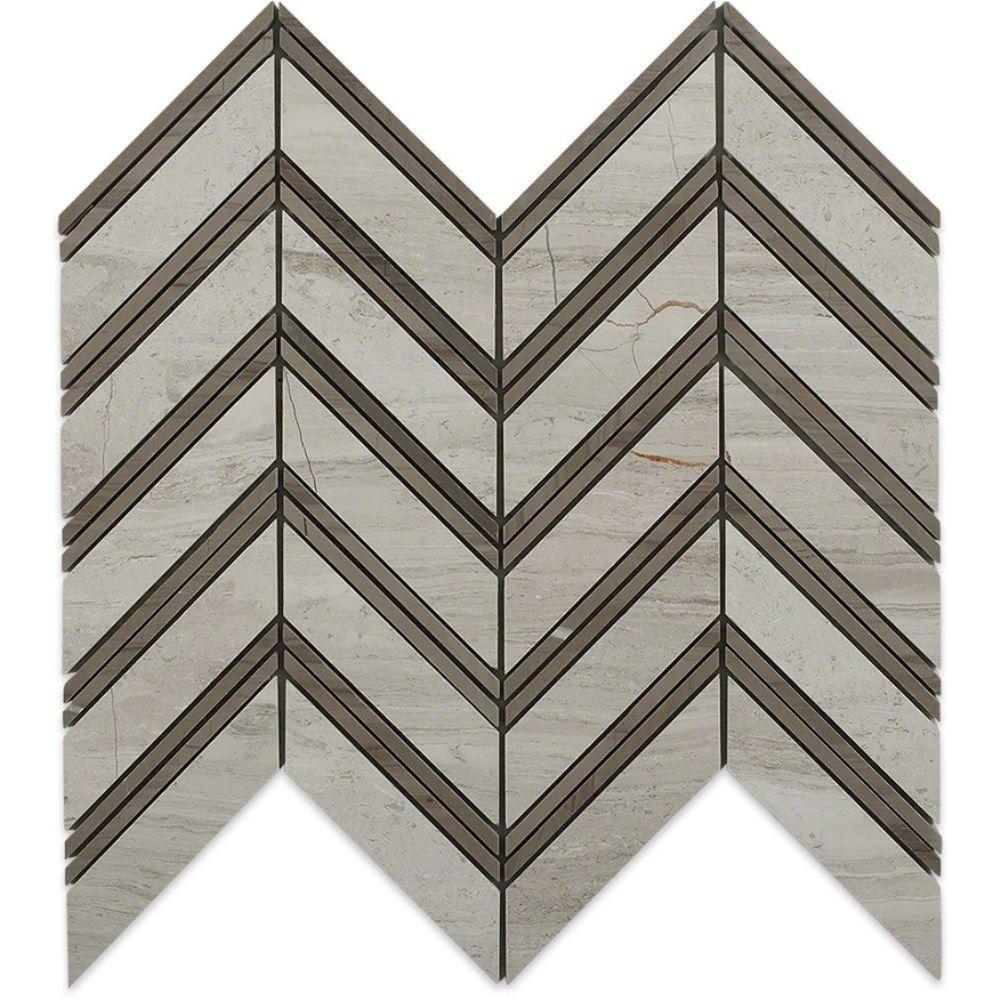Splashback Tile Royal Herringbone Wooden Beige And Athens Gray Strips 10 1 2 In