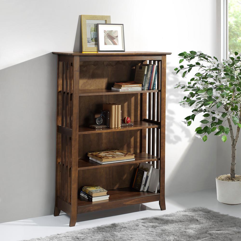 Linon Kendall Dark Cappuccino Wood Double Bookcase