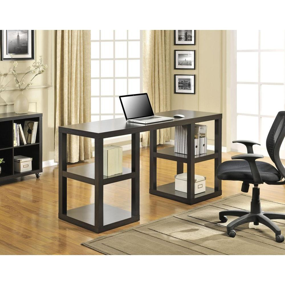 Ameriwood Home Nelson Dark Black Oak Computer Desk With Shelves HD68255    The Home Depot