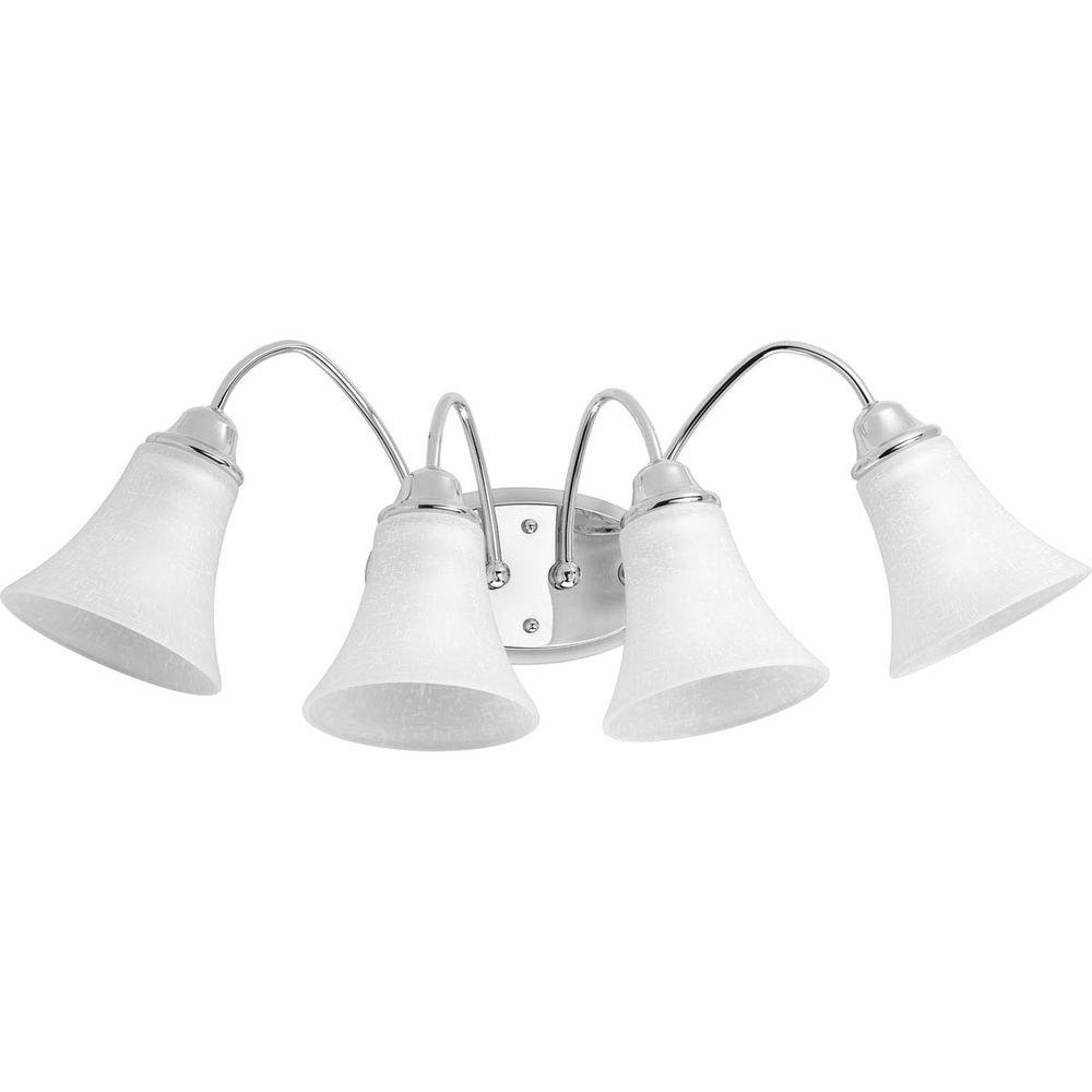Progress Lighting Tally Collection 4-Light Polished Chrome Bathroom Vanity Light with Glass Shades
