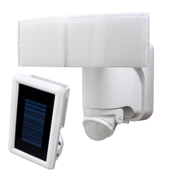 180-Degree White Solar Powered Motion LED Security Light with Battery Backup