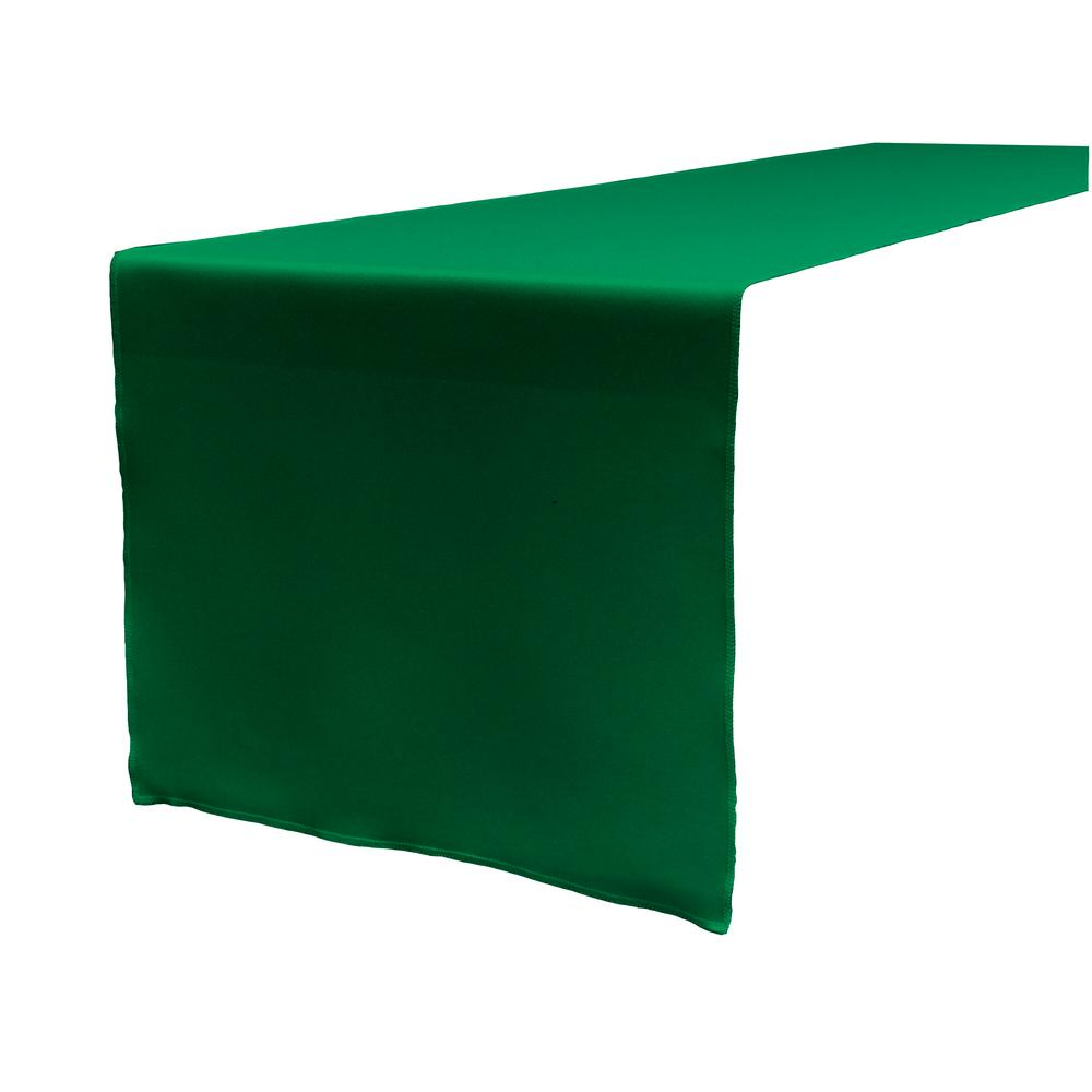 14 in. x 108 in. Emerald Green Polyester Poplin Table Runner