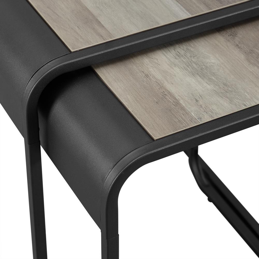 Walker Edison Furniture Company 18 In Grey Wash Black Metal