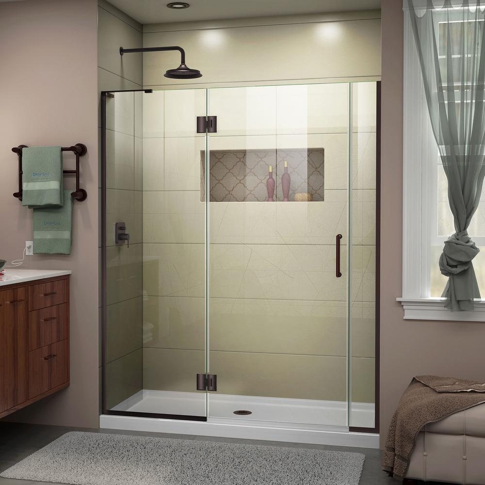 Unidoor-X 63 in. to 63-1/2 in. x 72 in. Frameless Pivot Shower Door in Oil Rubbed Bronze