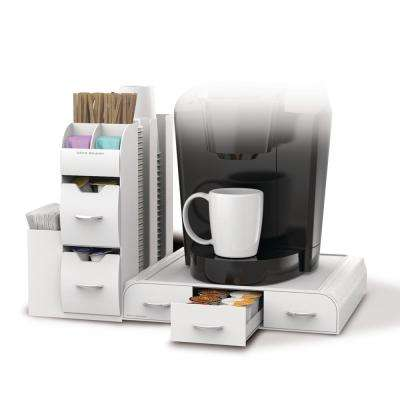 Pod Drawer and Condiment Caddy White Coffee Station
