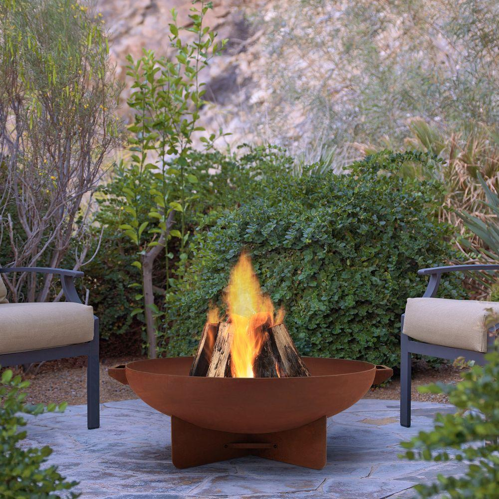 Anson 32 in. Wood Burning Steel Fire Bowl in Rust