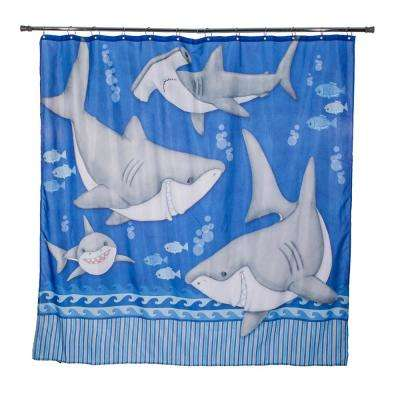 Fish'n Sharks 72 in. Under Water Shower Curtain