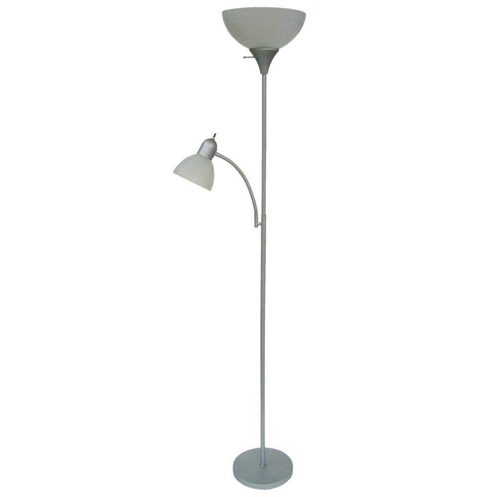 Hampton bay 715 in silver floor lamp with 2 frosted for Hampton bay floor shelf lamp
