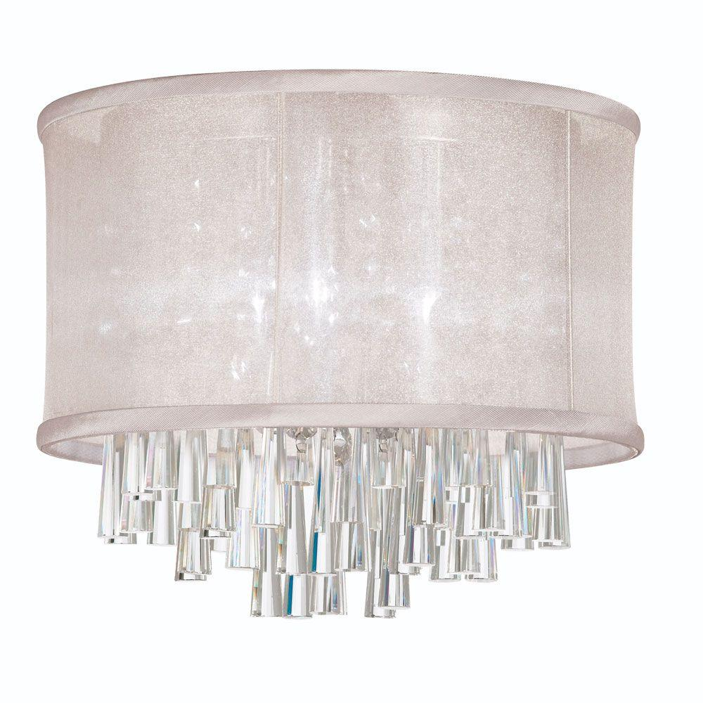 Josephine 4-Light Polished Chrome Crystal Flushmount with Oyster Organza Drum