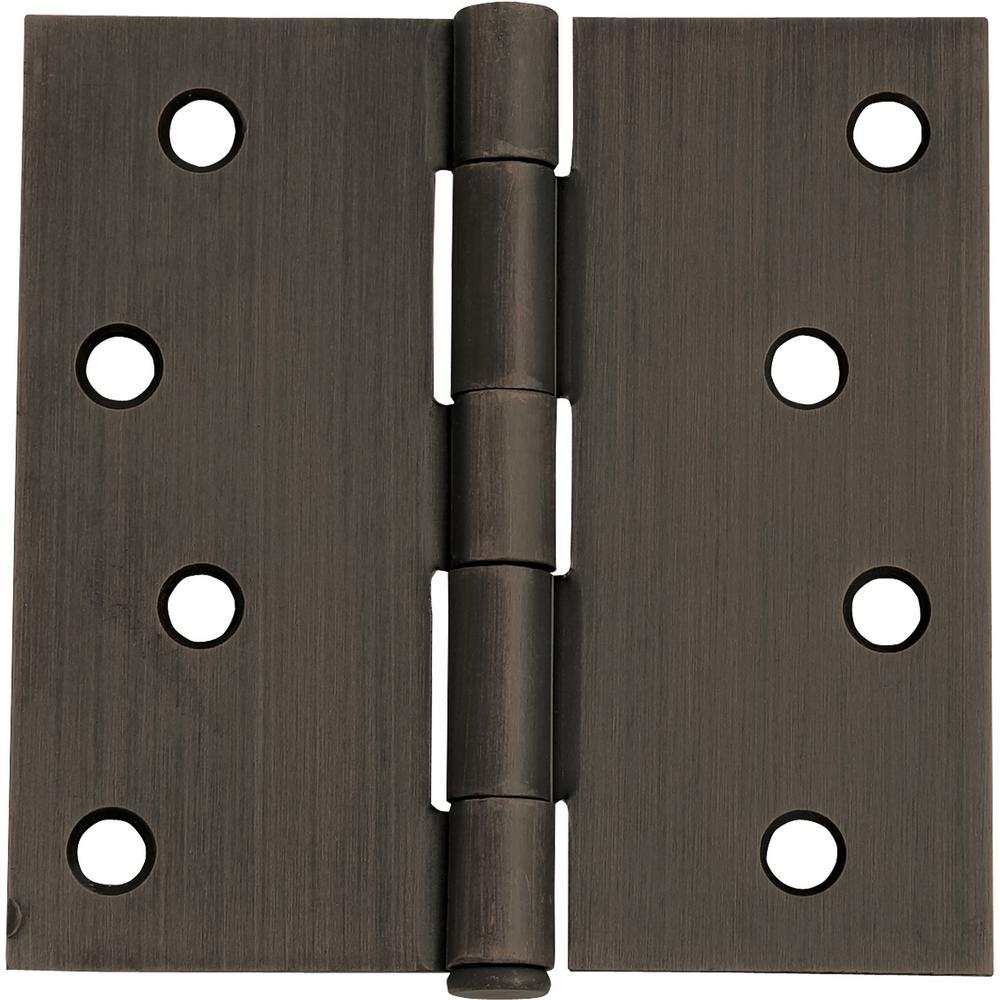4 in. Square Corner Oil Rubbed Bronze Door Hinge Value Pack (3 per Pack)