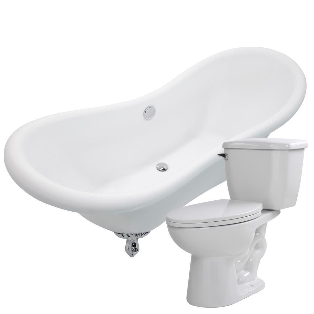 ANZZI Aegis 68.75 in. Acrylic Clawfoot Non-Whirlpool Bathtub in ...