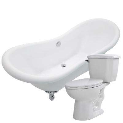 Aegis 68.75 in. Acrylic Clawfoot Non-Whirlpool Bathtub in White with Kame 2-Piece 1.28 GPF Single Flush Toilet