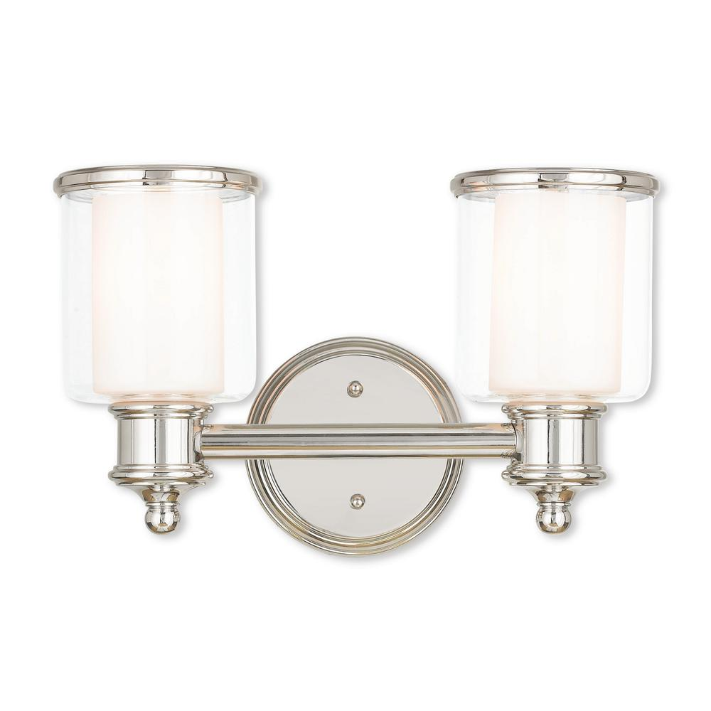 Hampton bay lockingwood 3 light polished nickel bath light for Polished nickel bathroom lighting