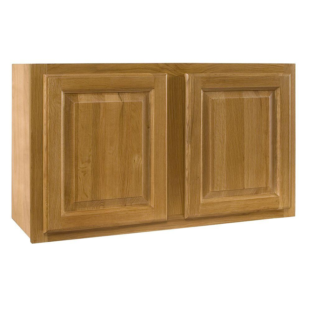 Home Decorators Collection Assembled 30x15x12 in. Wall Double Door Cabinet in Weston Light Oak