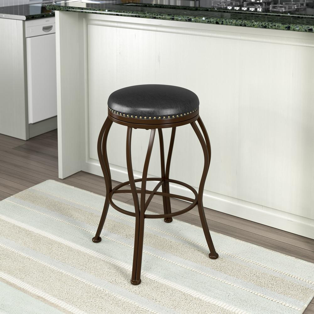 Jericho 30 in. Metal Bar Stool with Dark Brown Bonded Leather