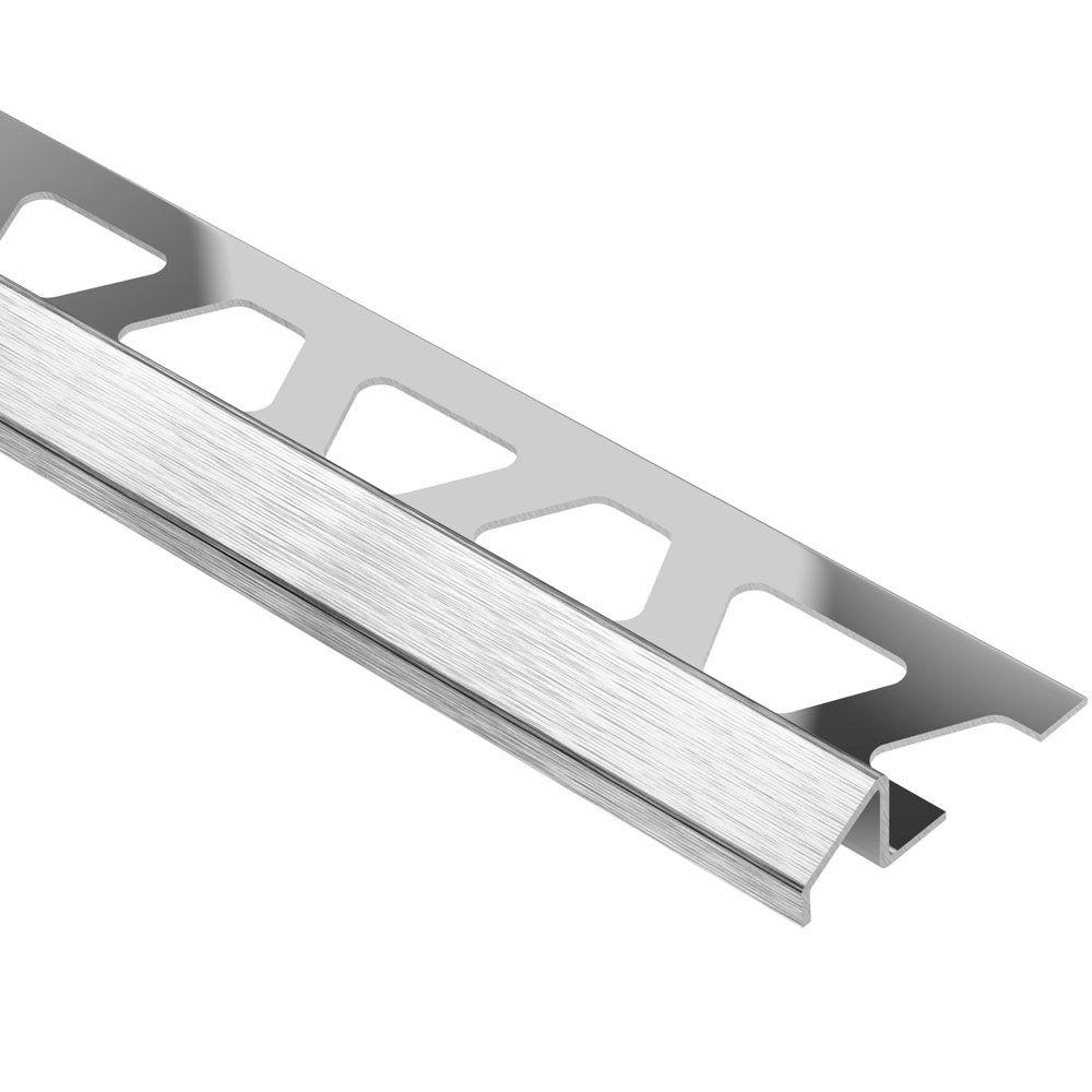 Schluter Reno-U Brushed Stainless Steel 3/8 in. x 8 ft. 2-1/2 in. Metal Reducer Tile Edging Trim