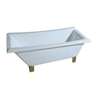 Modern 5.6 ft. Acrylic Slipper Clawfoot Non-Whirlpool Bathtub in White with Square Feet in Polished Brass