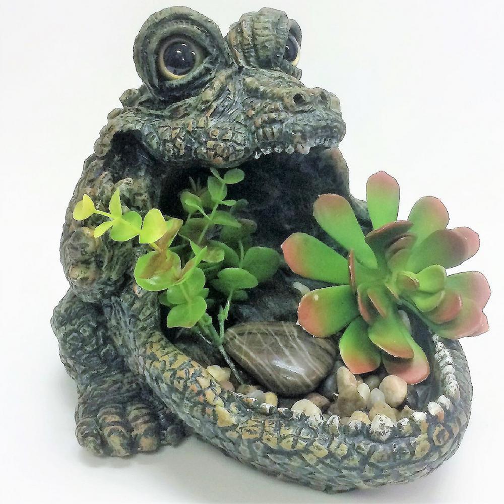 17 in. Gators Big Mouth Multi-Function Planter, Bird Feeder, Bird Bath and Stone Garden Statue