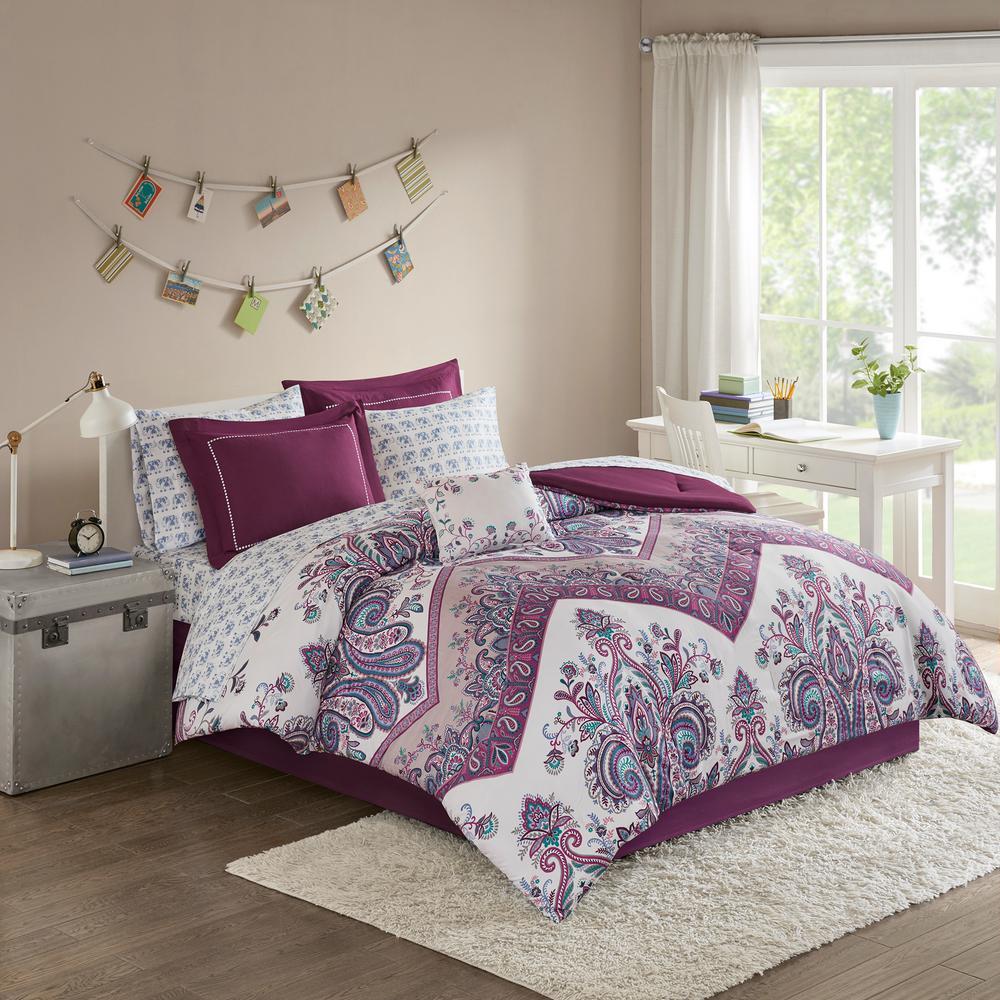Layne 9-Piece Purple Queen Boho Comforter Set