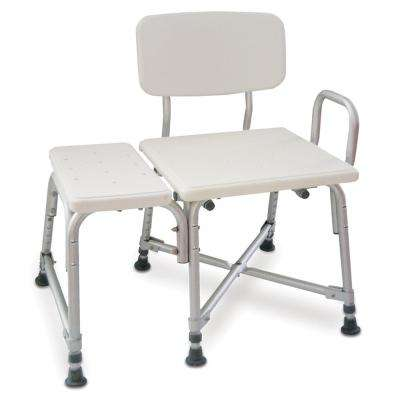 Adjustable Bariatric Transfer Bench with Armrest, Heavy Duty, Gray