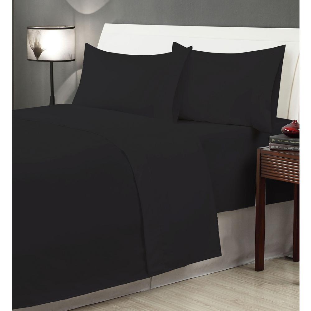4-Piece Black Microfiber Twin XL Sheet Set