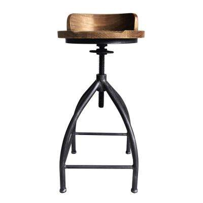 Ferris Industrial 26-32 in. Silver Brushed Gray Adjustable Metal Barstool with Brown Wood Seat