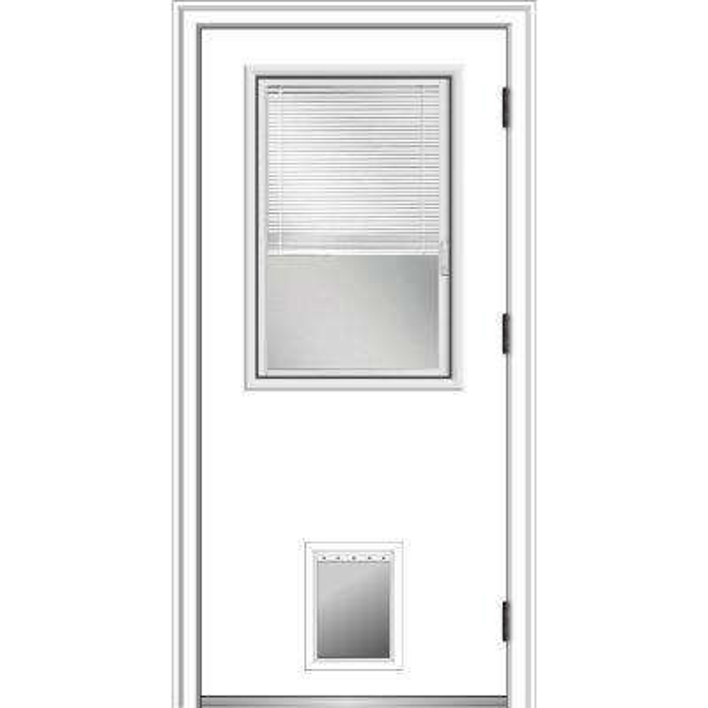 36 in. x 80 in. Internal Blinds Left-Hand Outswing 1/2 Lite Clear Primed Steel Prehung Front Door with Pet Door