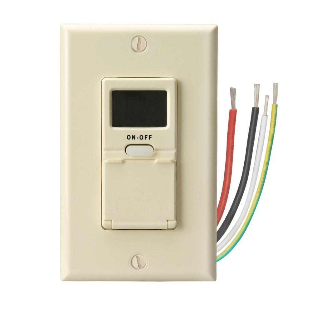 Woods 15 Amp 7-Day In-Wall Programmable Digital Timer Switch, Almond ...