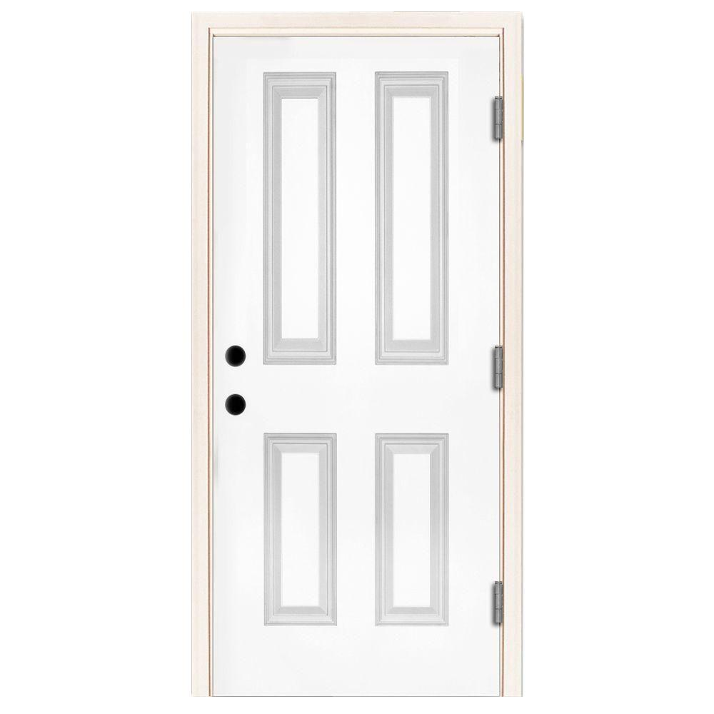 Steves sons 36 in x 80 in premium 4 panel primed white steel prehung front door st40 pr 30 36 x 80 outswing exterior door