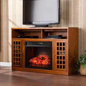 Alford 48 in W Media Stand Infrared Electric Fireplace in Glazed Pine by